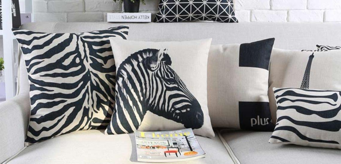подушки с принтом зебра