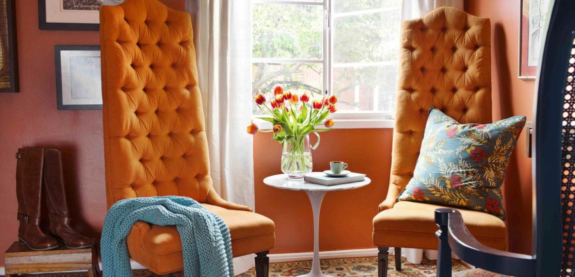 интерьер оранжевый с голубым