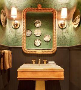 ванная комната цвет малахитовый с золотом