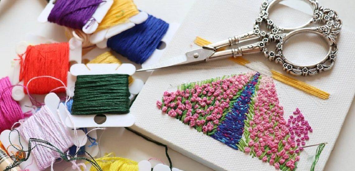 вышивка, рукоделие, французский узелок