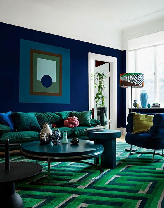 синий с зеленым в интерьере