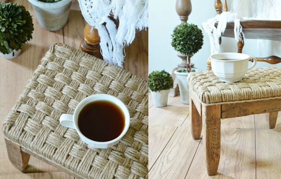 как сделать плетеное сидение у табурета