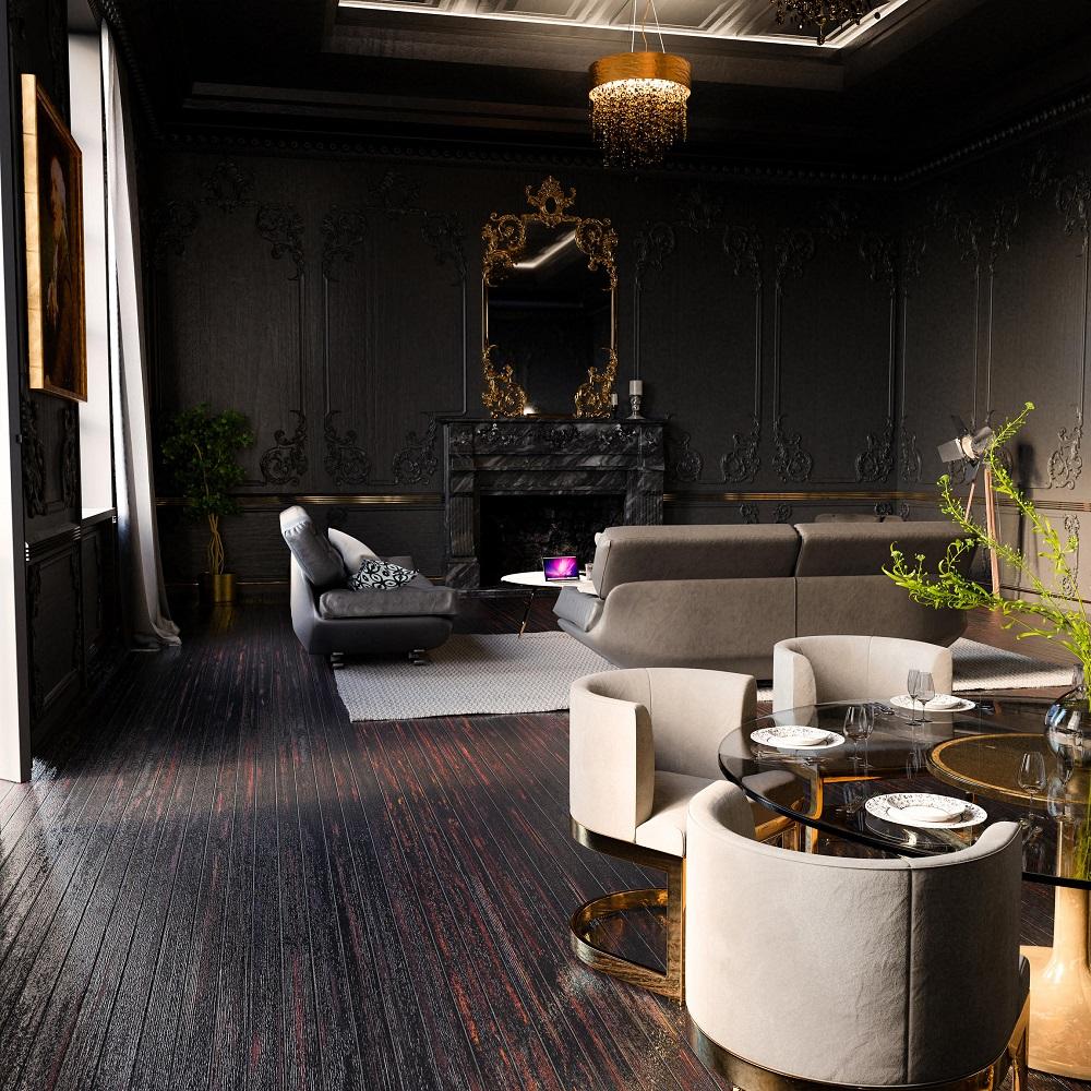 Черный и золотой в интерьере гостиной
