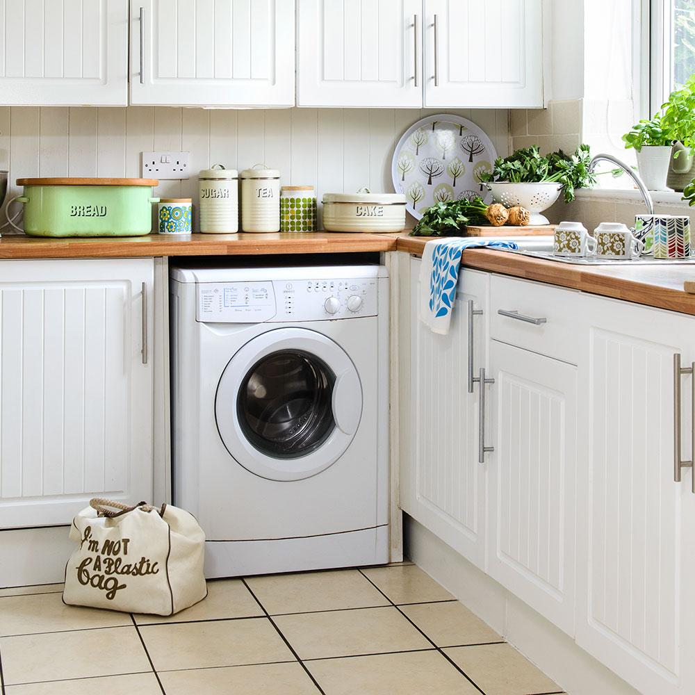 Как спрятать стиральную машину на кухне фото дома состоит