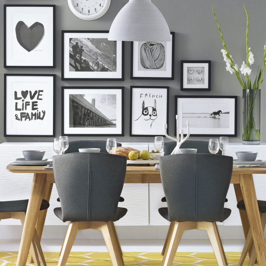 Яркий контраст с интерьере столовой