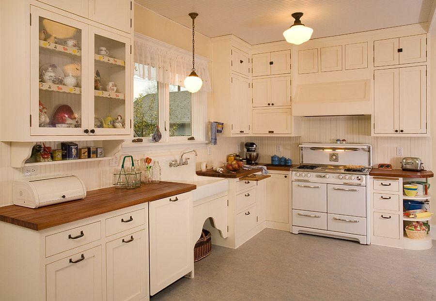 Кремовый вместо белого на кухне в стиле шебби-шик