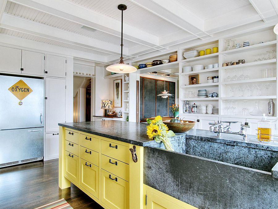 Стиль шебби-шик — белый и желтый в интерьере