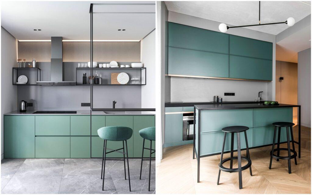 Графитовый серый и зеленый в интерьере кухни