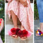 Неожиданное применение помпонов: необычные и очень стильные украшения обуви
