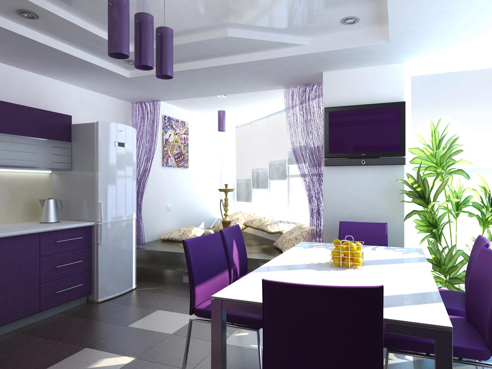 дизайн яркой кухни в фиолетовых тонах
