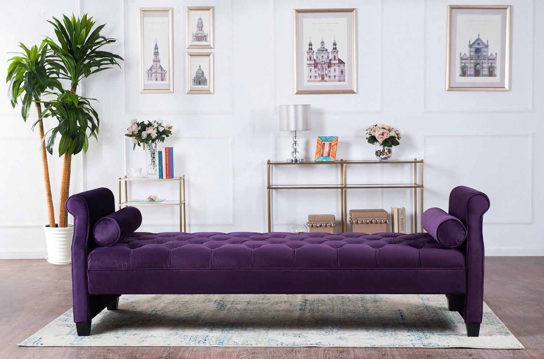 фиолетовый диван-скамья