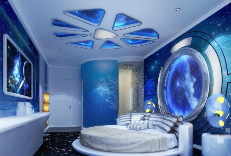 интерьер спальни в стиле космос