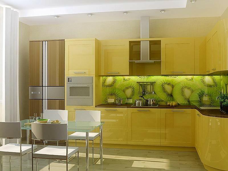 яркая кухня в желтом цвете