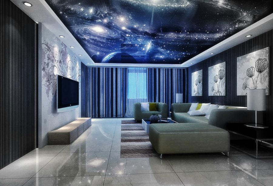 интерьер гостиной в космическом стиле