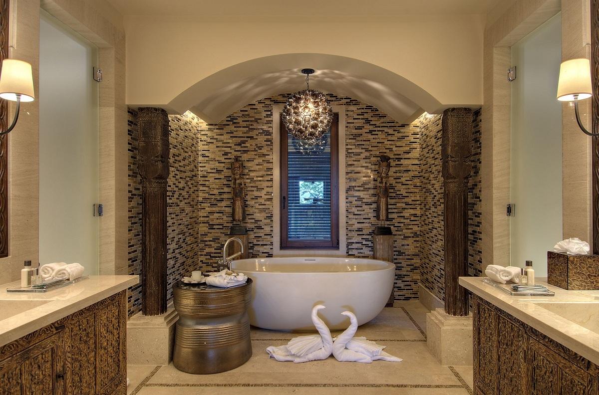 акцентная стена в интерьере ванны