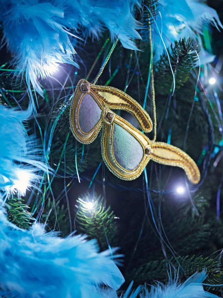 украшение новогодней елки в стиле диско