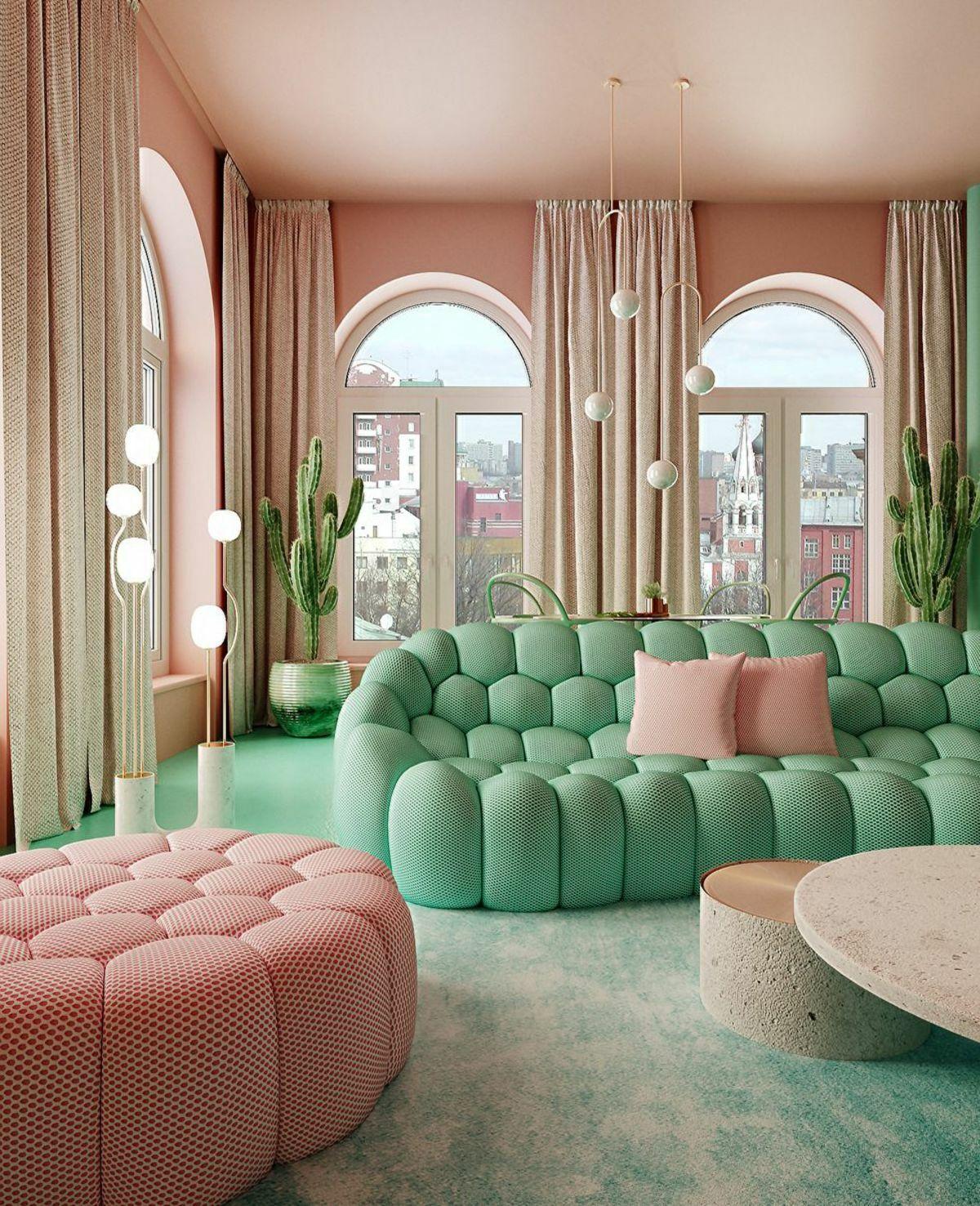 Американцы выбирают российских дизайнеров для оформления своих домов: Яркая квартира с кактусами в Нью-Йорке
