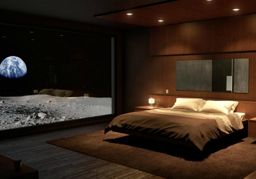 декор спальни в стиле космос
