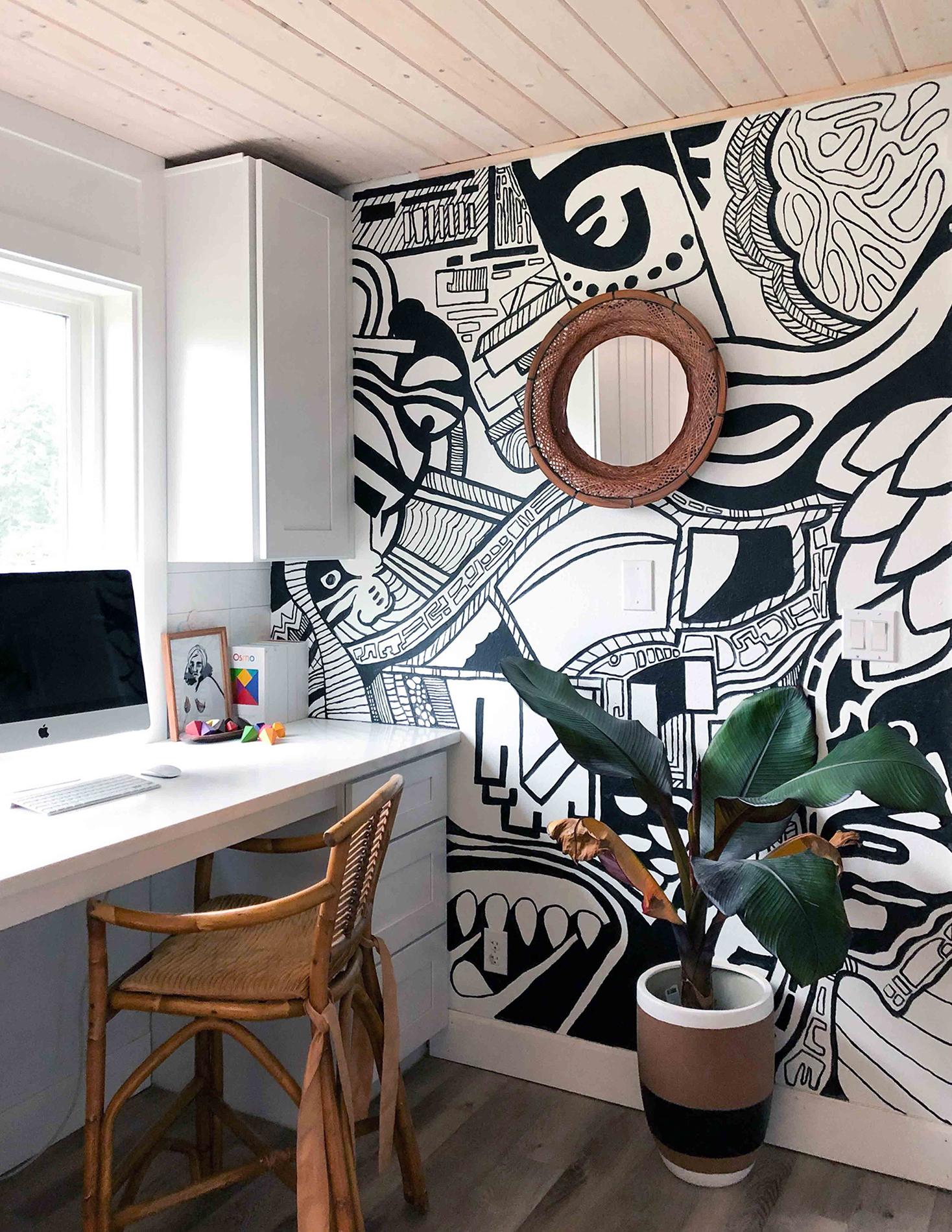 Нарисованный интерьер - кабинет