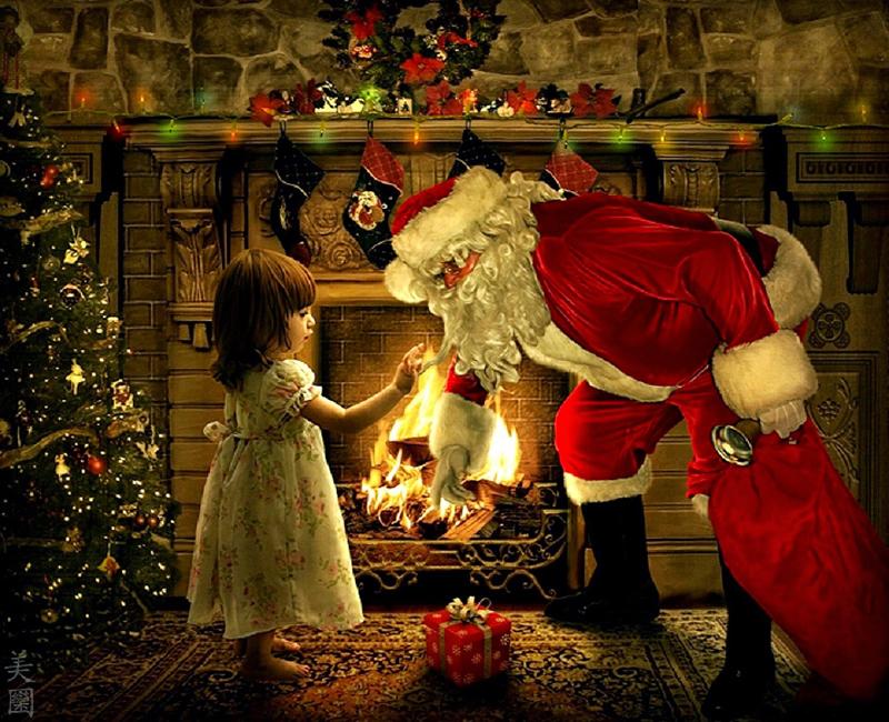 дед мороз кладет подарки под елку картинки для