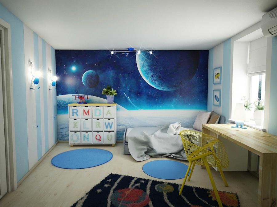 комната для ребенка в стиле космос