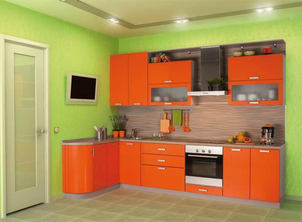 яркая кухня оранжевый и зеленый